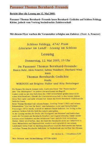 Gedichte Passauer Thomas Bernhard Freunde