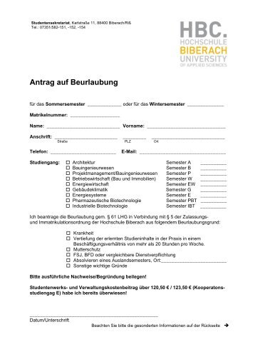 Antrag auf Beurlaubung - Hochschule Biberach