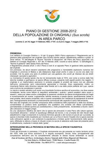 Piano gestione cinghiali - Parco della Murgia Materana