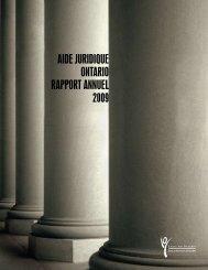 Rapport annuel - 2008-2009 - Legal Aid Ontario