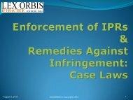 Enforcement of IPRs & Remedies Against Infringement: Case Laws