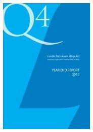 Lundin Petroleum Financial Report Year End 2010