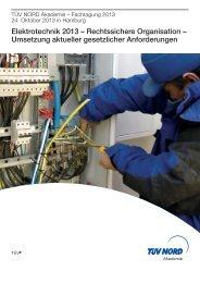 Elektrotechnik 2013 – Rechtssichere Organisation - der MEBEDO ...