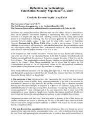 Reflection on the Readings Catechetical Sunday, September 16, 2007