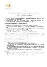 Avis ISITV Toulon - Commission des Titres d'Ingénieur
