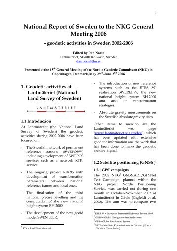 National Report of SWEDEN to the NKG General ... - Lantmäteriet