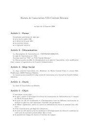 Statuts de l'association - VIA Centrale Réseaux - Ecole Centrale Paris