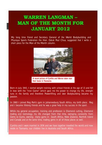 warren langman – man of the month for january 2012 - ABBF