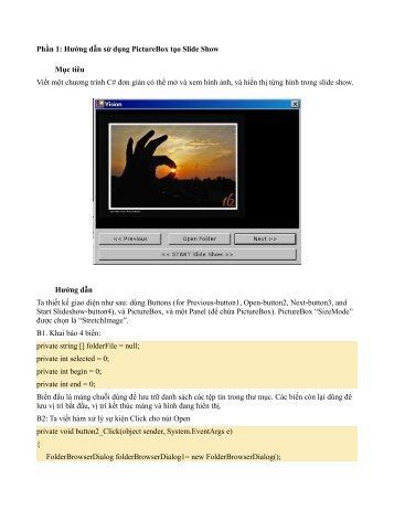 Phần 1: Hướng dẫn sử dụng PictureBox tạo Slide Show Mục tiêu ...