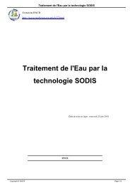Traitement de l'Eau par la technologie SODIS - RNCR