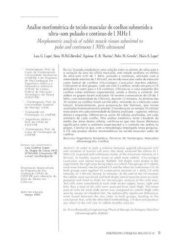 Análise morfométrica de tecido muscular de coelhos ... - Crefito