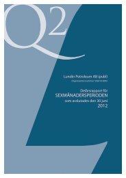 Rapport för Sexmånadersperioden 2012 - Lundin Petroleum