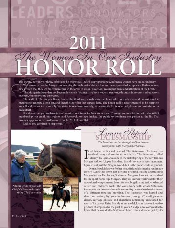 Lynne Shpakn StateSmanShip - American Morgan Horse Association