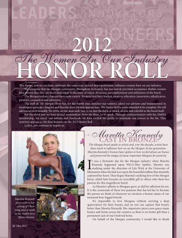 The 2012 Honor Roll - American Morgan Horse Association