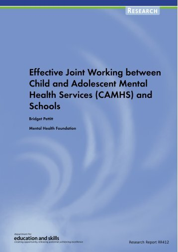(CAMHS) and Schools - London Health Programmes