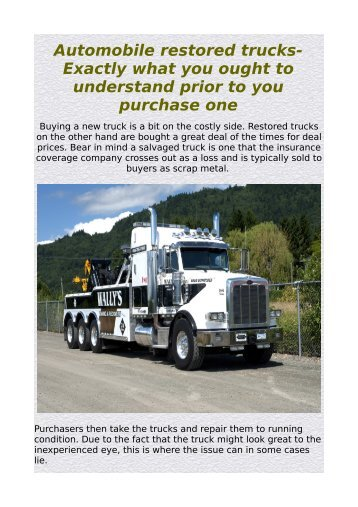 Automobile restored trucks- Exactly what you ought to understand prior to you purchase one.pdf