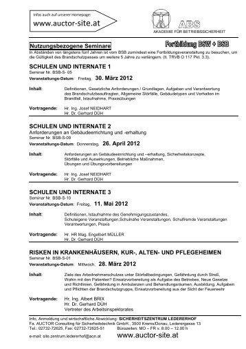Erweiterte Ausbildung /Fortbildung 2012 1.Halbjahr - Auctor