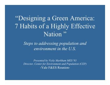 """Designing a Green America: 7 Habits of a Highly Effective Nation """