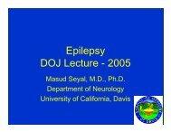 Epilepsy DOJ Lecture - 2005 - California Association of Toxicologists