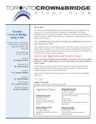 meetings will be held at La Primavera - Toronto Academy of Dentistry