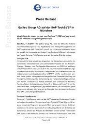 Press Release Galileo Group AG auf der SAP TechEd'07 in München
