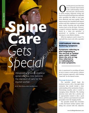 Building Indiana News (May/June 2012) - Spine Care Specialists
