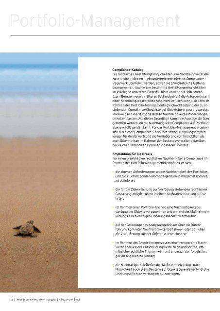 Real Estate Newsletter, Ausgabe Dezember 2013 - Schweiz
