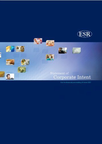 Statement of Corporate Intent for year end 2007 - Environmental ...