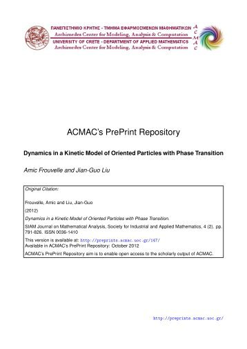 Download (442Kb) - ACMAC's PrePrint Repository