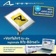 Vorfahrtfür die regionale Kfz-Börse! - Augsburger Allgemeine