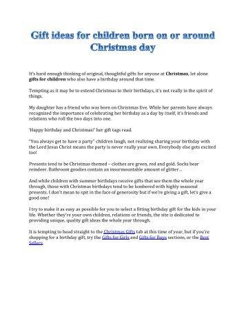 Christmas Birthday Ideas for Kids