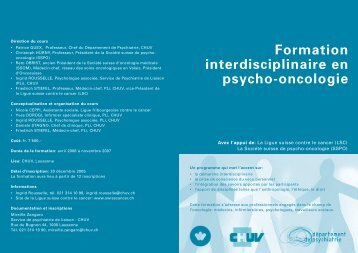 Formation interdisciplinaire en psycho-oncologie - Association ...