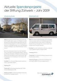 Aktuelle Spendenprojekte der Stiftung Züriwerk – Jahr 2009