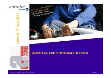 Conférence - Le traitement d'eau des installations de ... - Astech
