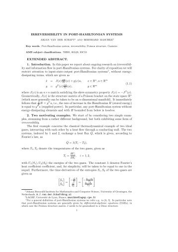 IRREVERSIBILITY IN PORT-HAMILTONIAN SYSTEMS EXTENDED ...