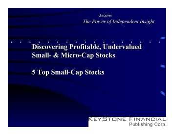 Discovering Profitable, Undervalued - Small-Cap Conference Series