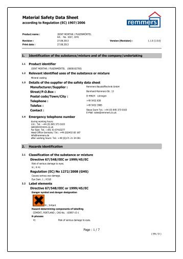 Material Safety Data Sheet - Remmers UK Limited
