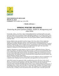SPRING POETRY READING Featuring the poets Quinton Hallett ...