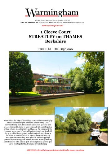 1 Cleeve Court STREATLEY on THAMES Berkshire - Warmingham