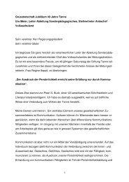 1 Grussbotschaft Jubiläum 40 Jahre Tanne Urs Meier, Leiter ...