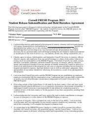 FRESH Hold Harmless Agreement - Cornell Career Services ...