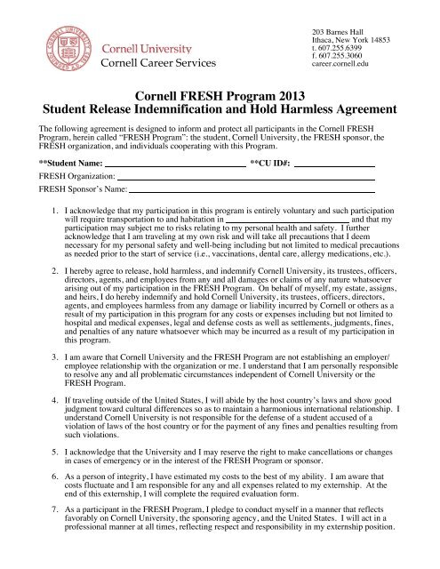 Fresh Hold Harmless Agreement Cornell Career Services