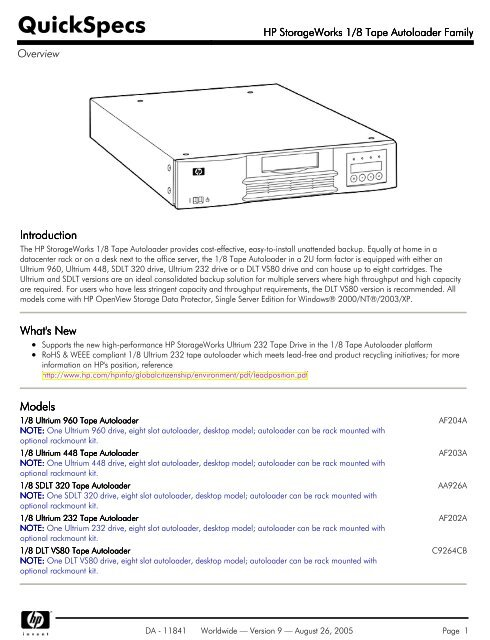 HP StorageWorks 1/8 Tape Autoloader Family