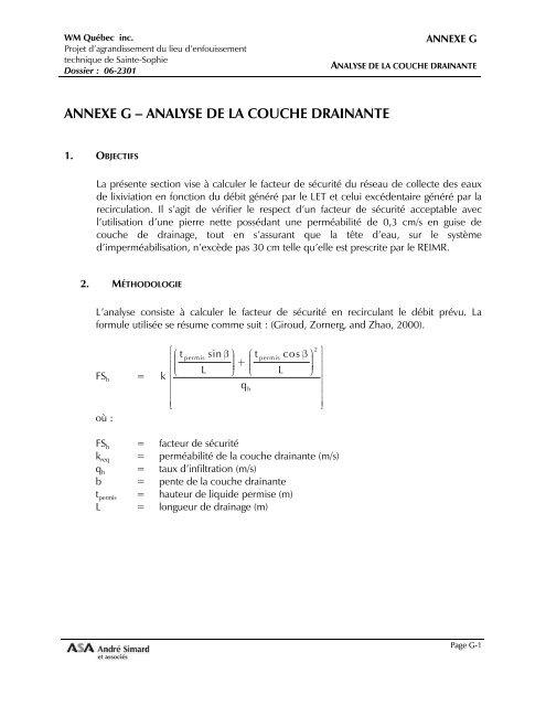 Annexe G - Analyse de la couche drainante (pdf) - Sainte-Sophie