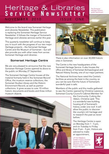 Heritage and Libraries newsletter, November 2010 - Somerset ...