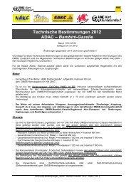 Techn. Bestimmungen WAKC-/ ADAC -Bambini-Gazelle 2012