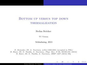 Bottom up versus top down thermalization