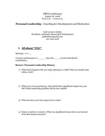 Personal Leadership-Coaching for Development and Motivation