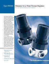 Type 850/860 Miniature Air or Water Pressure Regulator