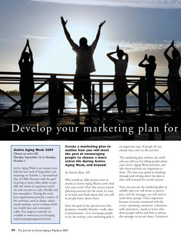 Develop your marketing plan for Active Aging Week - International ...